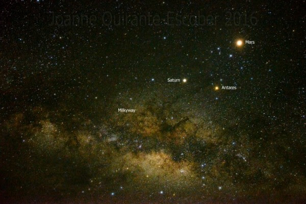 Joanne Richard Escober caught this image of Mars, Saturn and Antares on May 28 at Apo Reef Natural Park, Occidental Mindoro, Philippines.