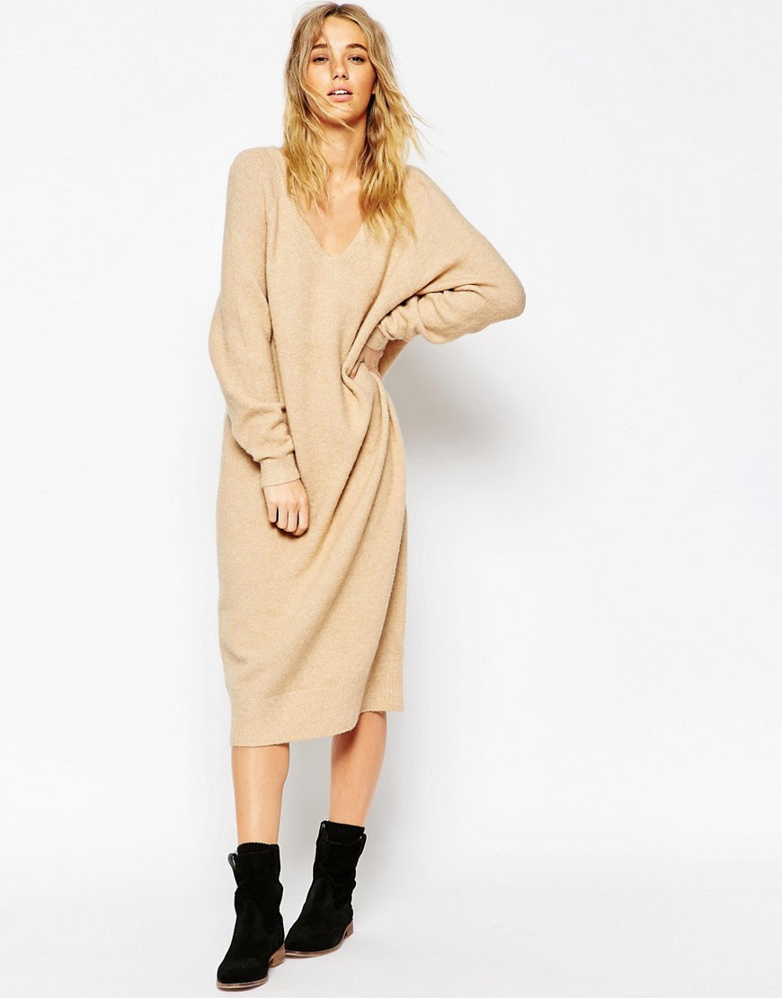 Image 1 of ASOS Midi Dress In Mohair With V-Neck