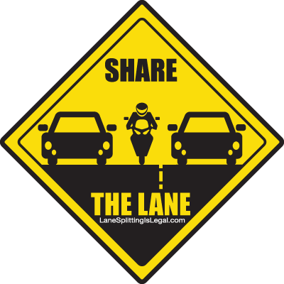 Lane Splitting / Lane Sharing - Legal in California - Road Sign