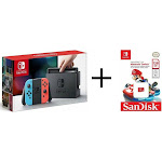 Nintendo Switch 32GB Gray System with Neon Joy-Cons + 128gb microSDX Mario