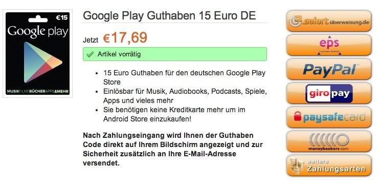 Google Play Karte Online Kaufen | Karte