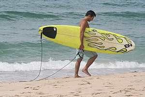 A surfer carries a surfboard along the beach.