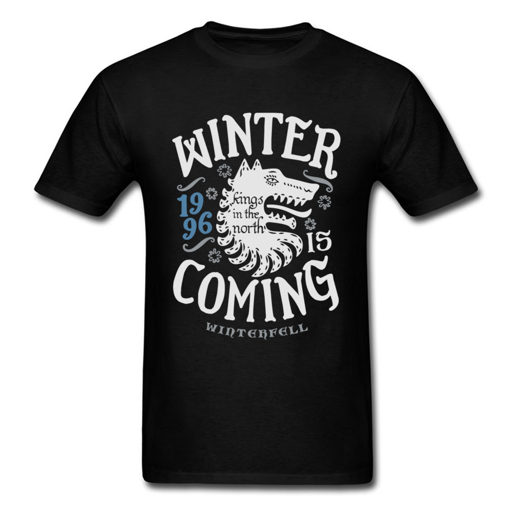 T shirt men Kings In The North T-shirt Men T Shirt Winter Is Coming Tshirt Wolf s Letter Tees Vikings Black Slim Fit 1996