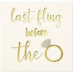 100 Bachelorette Party Cocktail Napkins Gold Foil - Last Fling Before The Ring, Multicolor