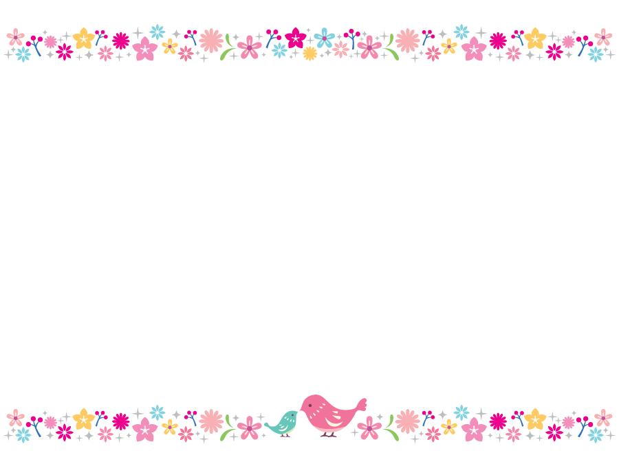 フリーイラスト 小鳥の親子と花柄の飾り枠でアハ体験 Gahag 著作権