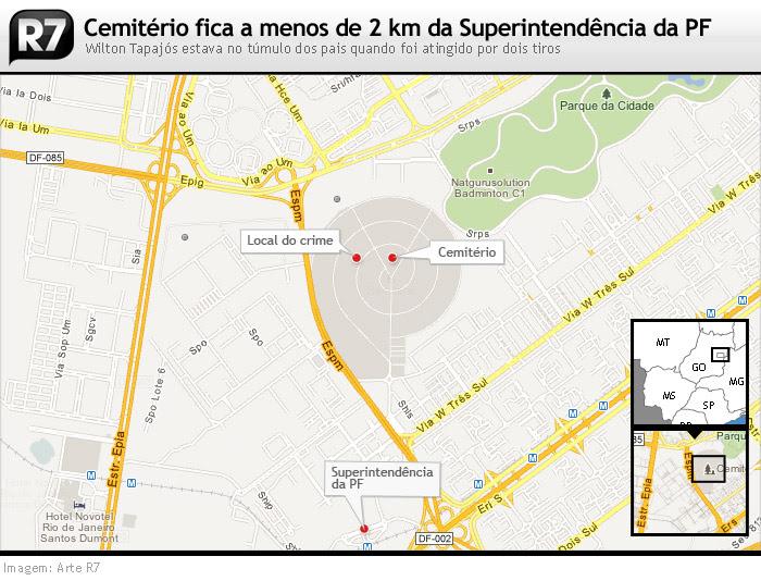 Cemitério fica a menos de 2 km da Superintendência da PF