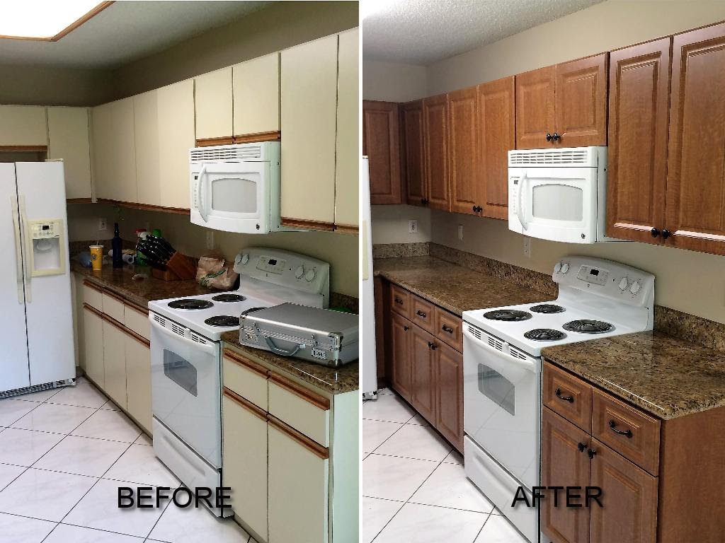 Before & After Pictures of Kitchen Cabinet Refacing. Call ...