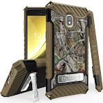 Autumn Camouflage Tree Leaf Real Woods Rugged Case Cover [with Kickstand + Wrist Strap Lanyard] for Samsung Galaxy J3 Achieve, J3 Star, J3 V (2018)