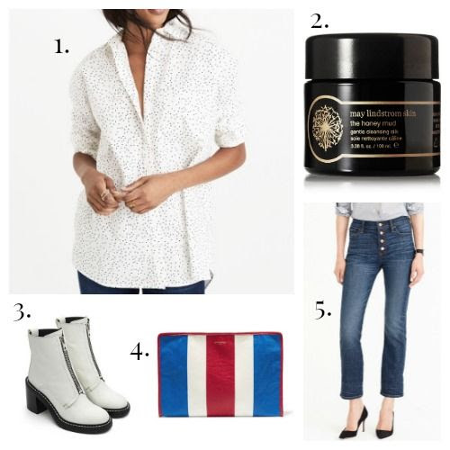 Madewell Shirt - May Lindstrom Cleanser - Rag and Bone Boots - Balenciaga Clutch - J.Crew Jeans