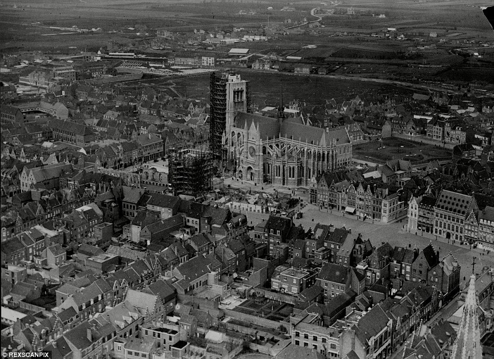In rehab: An aerial view of Ypres under construction in 1930 which gives an idea of how the city looked before it was bombarded during the Great War