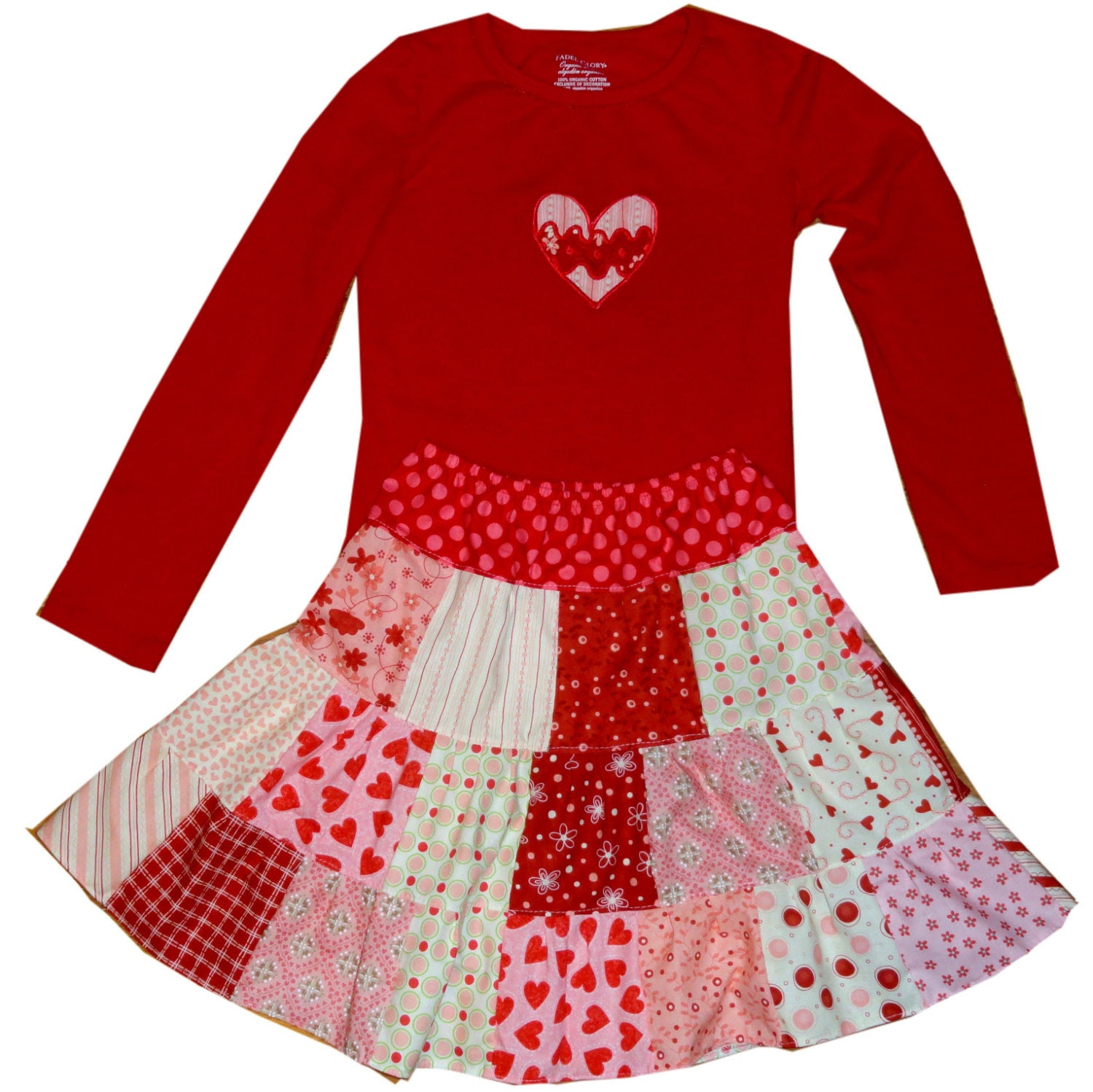 Girls Patchwork Twirl Skirt Set Euro Valentines Day Outfit 3m through 8 years