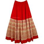 TLB Thunderbird Red Cotton Full Long Skirt