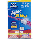 Ziploc Slider Storage Bag, Variety Pack, 166-count