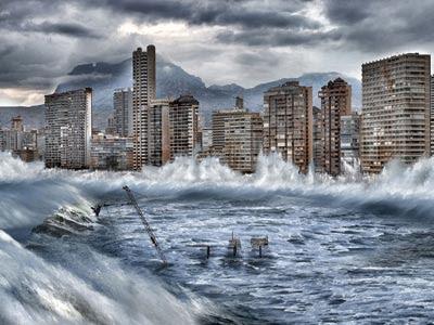 Simulación de cómo el cambio climático y la destrucción del Ártico podría afectar a Benidorm. GREENPEACE