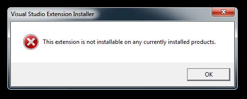 Visual Studio Extension Installer error