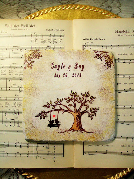 Love Birds Personalized Trivet Wedding Gift Two by PrayerNotes