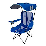 Kelsyus Premium Portable Camping Folding Lawn Chair with Canopy, Blue | 80185 by VM Express
