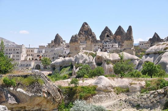 Cappadocia, Turkey: A view of Goreme where Kelebek hotel is
