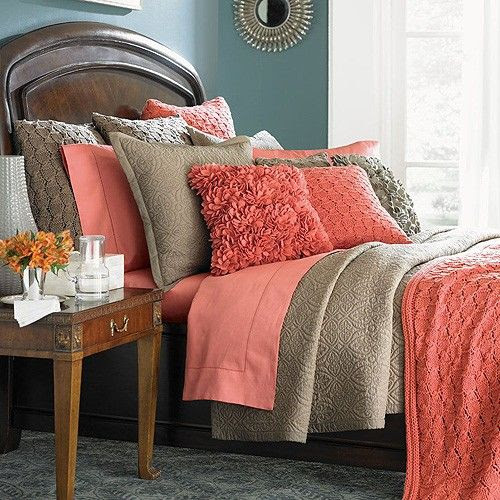 coral and neutral, great color scheme
