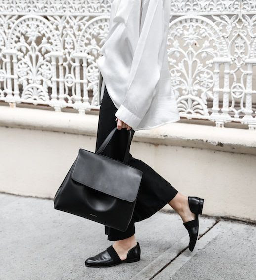 Le Fashion Blog Minimal Blogger Style White Silk Shirt Mansur Gabriel Bag Black Cropped Flares Dorsay Loafers Via Modern Legacy