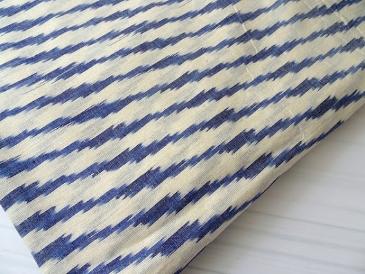 Ikat Indian Fabric handwoven cotton on white and  blue stripe