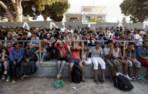 Syrian refugees pack the stands