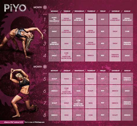 piyo workout calendar  improvement pinterest
