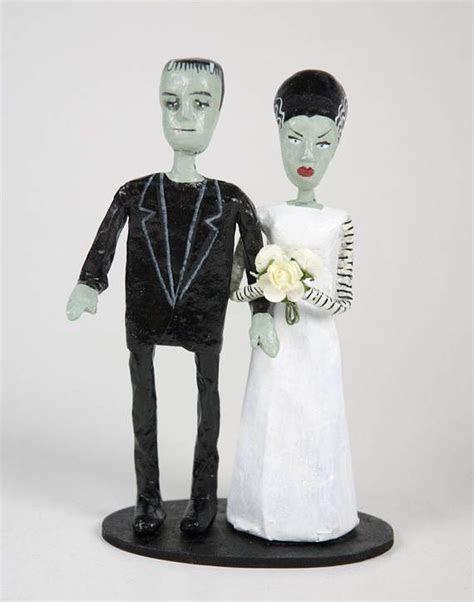 Wedding cake topper Frankenstein Handmade paper mache
