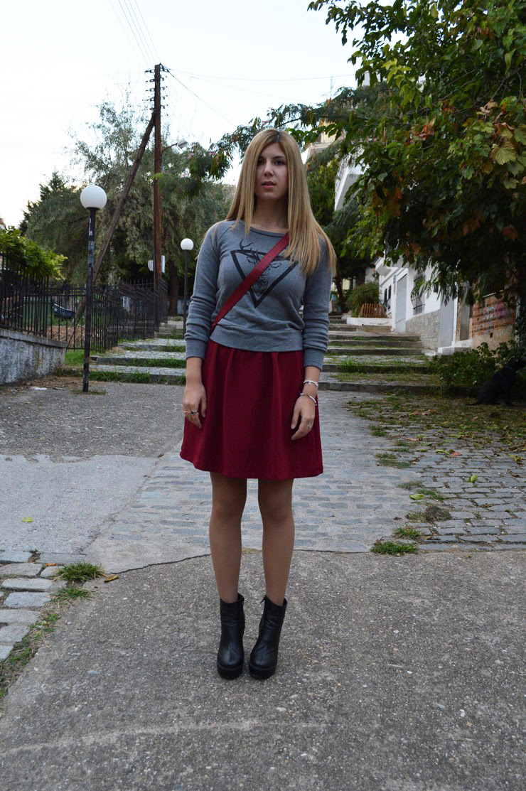burgundy dress grey sweater12