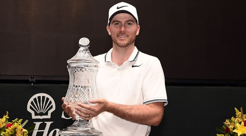 Russell Henley with Houston Open trophy