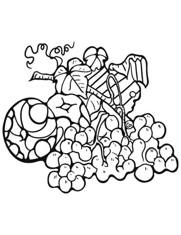 Dibujo De Manzana Y Uva Zentangle Para Colorear Dibujos Para