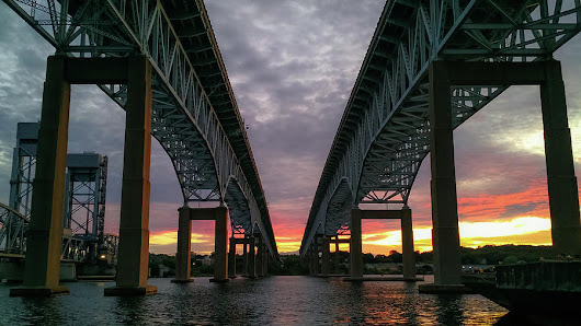 Gold Star Bridge Sunset 2016 by Kirkodd Photography Of New England