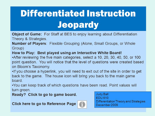 Object of Game: For Staff at BES to enjoy learning about Differentiation Theory & Strategies. Number of Players: Flexible Grouping (Alone, Small Groups, -  ppt download