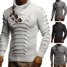 ZOGAA Men's Sweater Knitted Shawl Turtleneck Pullover Winter Long Sleeve