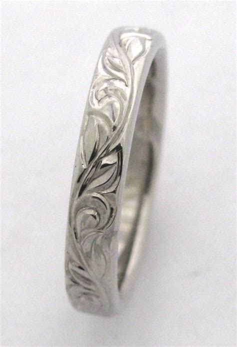 Hand Engraved Vine and Leaf Wedding Band and Anniversary Band