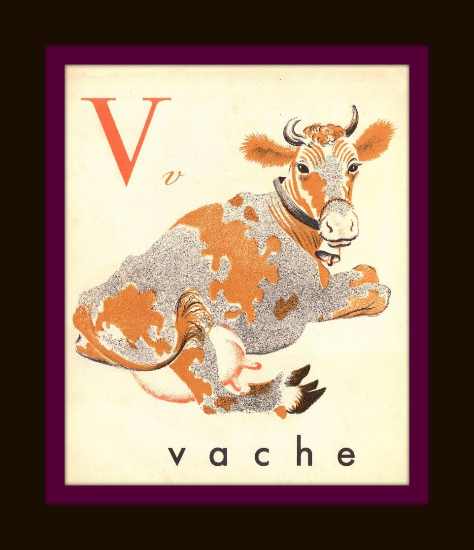 "Vintage French ""V"" Alphabet Print - V - French Alphabet - Nursery Art Print - Children Decor - Home Decor - French Animal"