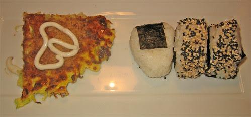 Okonomiyaki, Onigiri con umeboshi e con salmone arrostito by fugzu