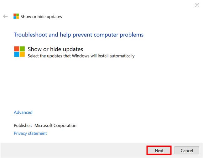 Inicie la herramienta Mostrar u ocultar actualizaciones en Windows 10 y presione Siguiente