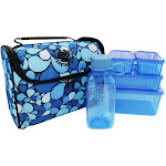 New Wave Enviro Products Litter Free Lunch Box with BPA Free Food Containers Blue