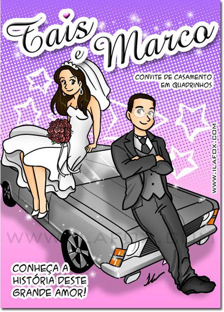convite em história em quadrinhos personalizados para casamento, história noivinhos, capa convite, noivos, mangá by ila fox