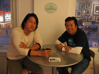 Sung Kang and Justin Lin (in the Lyrics Born tee)