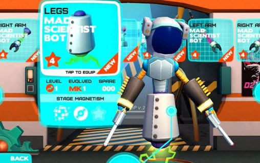 Screenshots of the Robot dance party for Android tablet, phone.