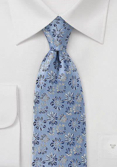 Embroidered Floral Tie in Vintage Blue   Bows N Ties.com