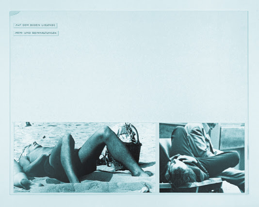 A page from Wex's work. At the bottom of a large white page are two candid pictures of men. One man lies on a beach, his knees up and spread apart. In the other picture, a man lies on a public bench, his knees also spread.