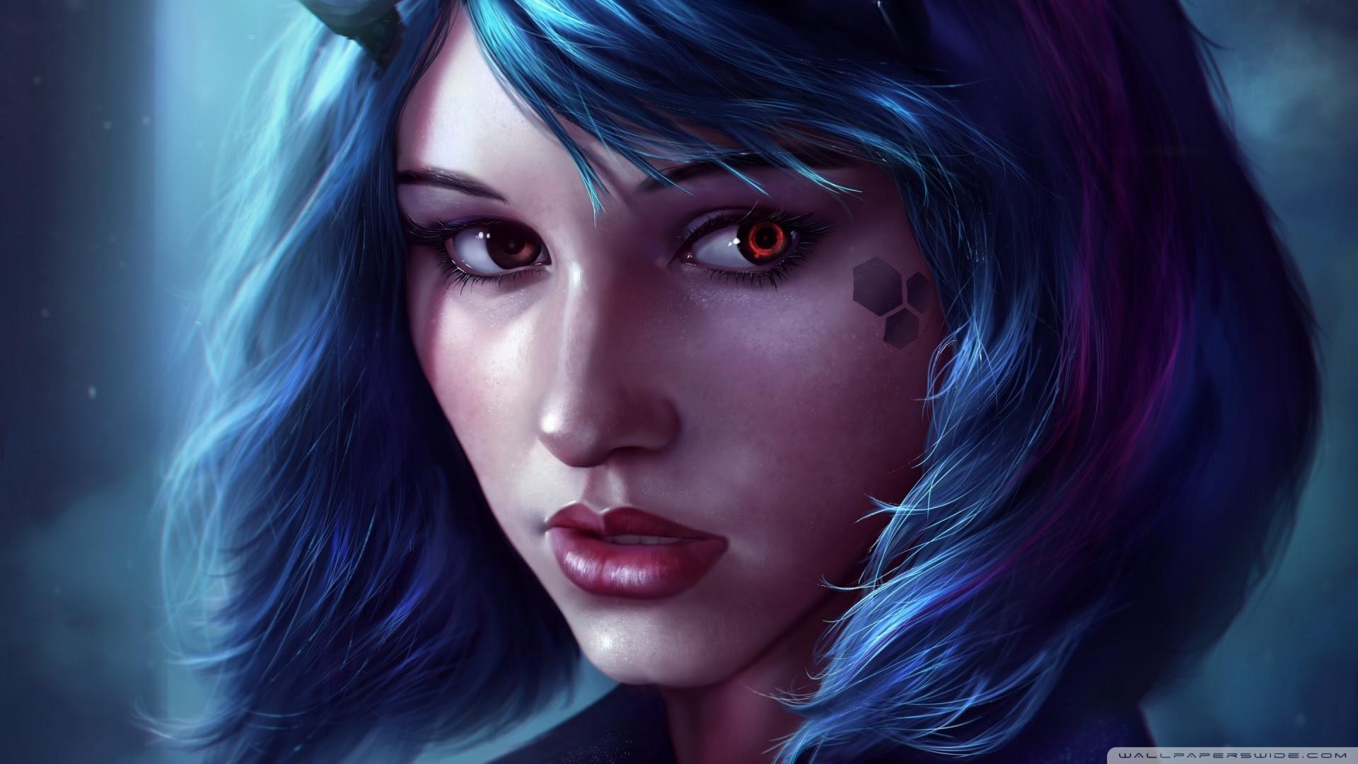 Fantasy Girl Face Blue Hair Ultra HD Desktop Background ...
