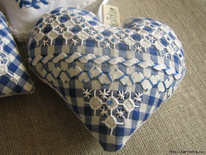 Textile hearts.  A large collection of very beautiful Valentine (25) (700x525, 332Kb)