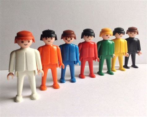 1974 Playmobil Geobra Figures, set of 7, white/orange/blue