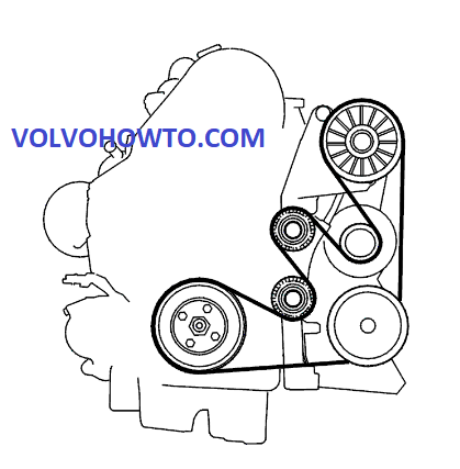 Volvo S60 S80 V70 Xc70 Xc90 2001 To 2006 D5 2 4d Auxiliary Serpentine Drive Belt Routing Diagram