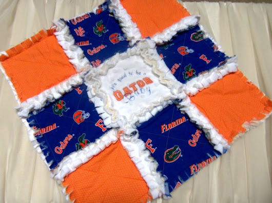 Fl Gators UF Baby Blanket  Baby Girl Minky Mini by SweetDivaMJSews