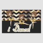 I Dance Ballerina Girls Rectangular Sticker